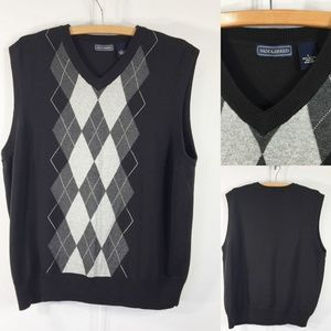 Saddlebred Mens L Knit Argyle Vest Black Gray